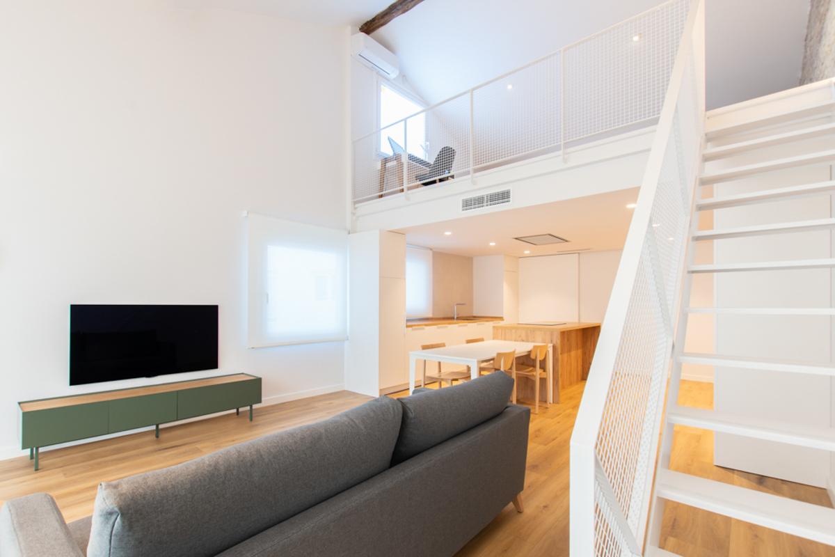 salón cocina de una vivienda, reforma de una vivienda, estudio de arquitectura e interiorismo de Zaragoza